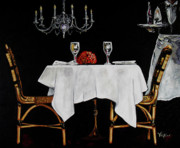 Waiter Painting Prints - Table for Two Print by Vickie Warner