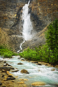 Scenic Posters - Takakkaw Falls waterfall in Yoho National Park Canada Poster by Elena Elisseeva