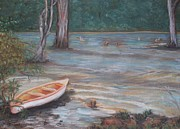 Canoe Pastels Metal Prints - Take-a-Break Metal Print by Roz Jenkins