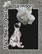 Puppy Mixed Media - Take Time To Smell The Roses by Smilin Eyes  Treasures