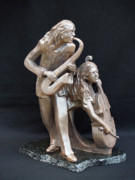 Daughter Sculptures - Taking Notes From Dad by Wayne Headley