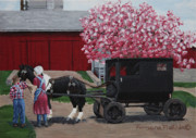 Amish Buggy Paintings - Taking The Reins by Tamara Mathis