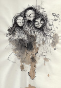Ink Drawing Prints - Talking To Yourself Again  Print by Mark M  Mellon