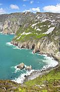 League Metal Prints - Tall sea cliffs of Slieve League Donegal Ireland Metal Print by Pierre Leclerc