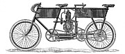 1899 Framed Prints - Tandem Motorcycle, 1899 Framed Print by Granger
