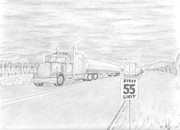 Transportation Drawings Originals - Tanker by Mary Vincent
