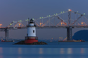 Lighthouse Photo Framed Prints - Tarrytown Lighthouse and Tappan Zee Bridge at Twilight Framed Print by Clarence Holmes