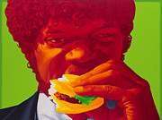 Movie Art Painting Metal Prints - Tasty Burger Metal Print by Ellen Patton
