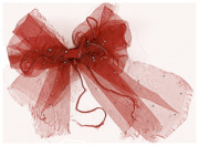 Red Bow Framed Prints - Tattered Red Framed Print by Dolly Mohr