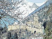 Snow-covered Landscape Drawings - Taufers Knights Castle Valle Aurina Italy by Joseph Hendrix