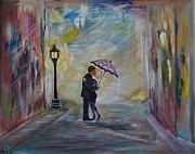 Nightime Paintings - Taxis Coming Kiss Me by Leslie Allen