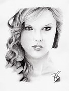 Taylor Swift Drawings - Taylor Swift 2 by Rosalinda Markle