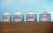 Silos Photo Posters - Tea Coffee Sugar Flour Poster by Steven  Michael