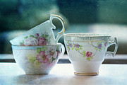 Flowered Prints - Tea for Three Print by Bonnie Bruno