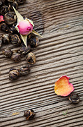 Wooden Bowl Photos - Tea leaves by Kati Molin