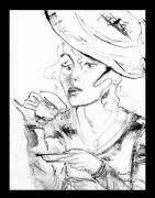Tea Party Drawings - Tea Party Girl by Anne-D Mejaki - Art About You productions