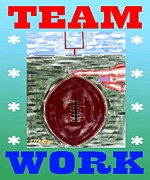 Sports Greeting Cards Prints - Team Work Print by Patrick J Murphy