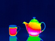 Hot Drink Framed Prints - Teapot And Hot Drink, Thermogram Framed Print by Tony Mcconnell
