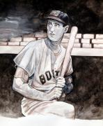 Mlb Baseball Drawings - Ted Williams by Dave Olsen