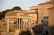 City Scapes Framed Prints - Temple of Saturn in the Forum Romanum. Rome Framed Print by Bernard Jaubert