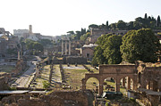 Ancient Cities Framed Prints - Temple of Vesta Arch of Titus. Temple of Castor and Pollux. Forum Romanum Framed Print by Bernard Jaubert