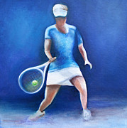 Racket Painting Framed Prints - Tennis player Framed Print by Lisa Kruse