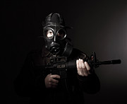 Gunman Posters - Terrorist With Gas Mask Poster by Gualtiero Boffi