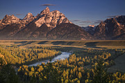 River. Clouds Posters - Teton Morning Poster by Andrew Soundarajan