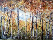 Autumn Woods Painting Posters - Tetons in Autumn Poster by Patricia Pushaw