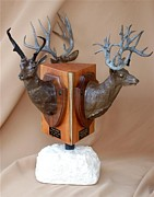Deer Sculpture Posters - Texas Trophies Poster by J P Childress