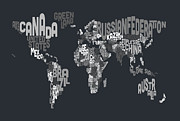 Typography Framed Prints - Text Map of the World Framed Print by Michael Tompsett