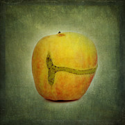 Texture Textured Framed Prints - Textured apple Framed Print by Bernard Jaubert