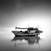 Minimal Landscape Digital Art - Thai fishing boat by Teerapat Pattanasoponpong