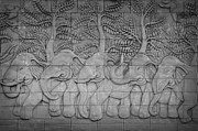 Bas Relief Sculpture Reliefs - Thai style handcraft of elephant by Phalakon Jaisangat