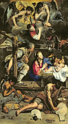 Shepherds Prints - The Adoration of the Shepherds Print by Fray Juan Batista Maino or Mayno