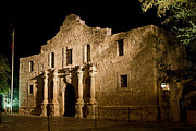 Revolutionary Photo Framed Prints - The Alamo at night Framed Print by Jim Chamberlain