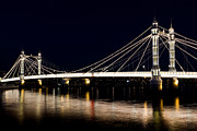 London Print Posters - The Albert Bridge London Poster by David Pyatt