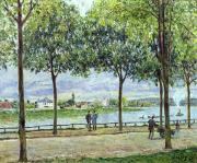 People Walking Prints - The Avenue of Chestnut Trees Print by Alfred Sisley