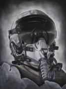 Helmet  Drawings Prints - The Aviator Print by Joe Dragt