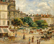 Town Square Framed Prints - The Banks of the Seine at Bougival Framed Print by Pierre Auguste Renoir