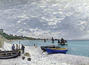 Boat On Beach Paintings - The Beach at Sainte Adresse by Claude Monet