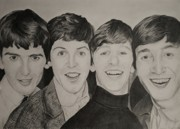 George Harrison Drawings - The Beatles by Jessica Hallberg