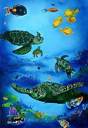 Tropical Fish Drawings Posters - The Beauty Below Poster by Kathleen Kelly Thompson