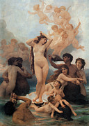 Fine Art  Of Women Painting Posters - The Birth of Venus Poster by William-Adolphe Bouguereau