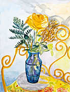 Stella Sherman Prints - The Blue Vase Print by Stella Sherman