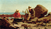 Schooner Posters - The Boat Builders Poster by Winslow Homer