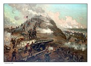 Scene Mixed Media Posters - The Capture Of Fort Fisher Poster by War Is Hell Store