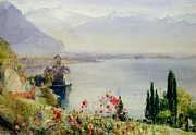 Mountainous Painting Posters - The Castle at Chillon Poster by John William Inchbold