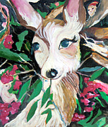 Animal Drawings Prints - The Christmas Deer Print by Mindy Newman