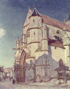 The Church Framed Prints - The Church at Moret Framed Print by Alfred Sisley